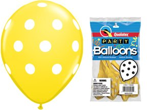 "PIONEER BALLOON COMPANY Round Big Polka Dots, 11"", Yellow"