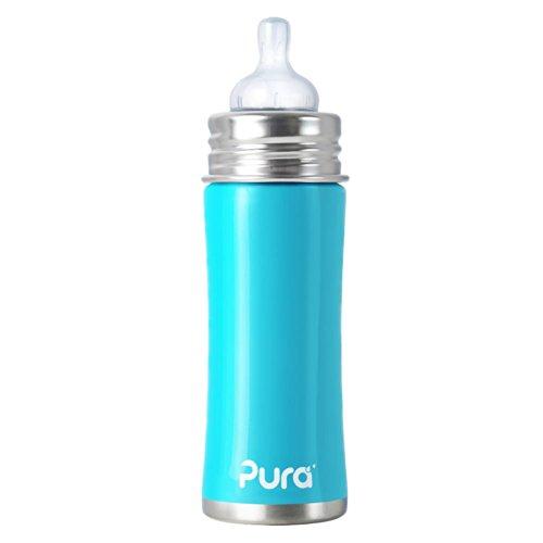 Pura Kiki 11-Ounce Stainless Steel Infant Bottle with Medium Flow Nipple, Aqua