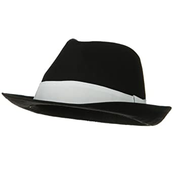 Extra Small Size Classic Cotton Fedora Hat - Black White Band W19S22E