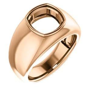 14K Rose, Men's Ring Mounting for Gemstone, Size: 10 ...