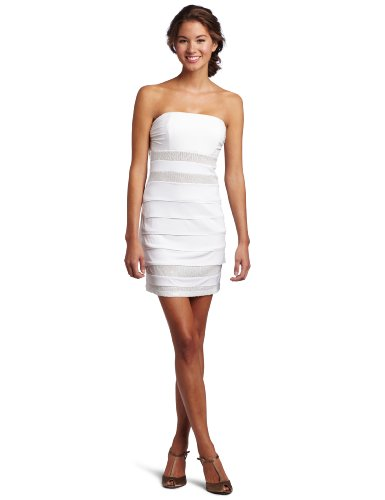 Trixxi Juniors Tube Sequin Knit Dress, Off White, Large