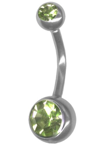 Lt Green Belly Button Ring 14 Gauge-Steel Short-Long Barbell-Custom Fit Double Jewel Navel Ring