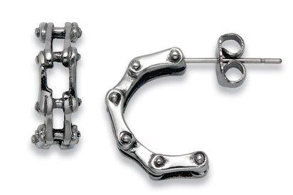 Stainless Steel Bike Chain Stud Earrings
