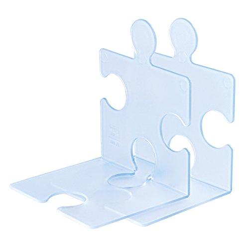 Han 9212-73 - Estantería de soporte de libros y CD diseño de Puzzle, Color Azul Claro Transparente (2 piezas)