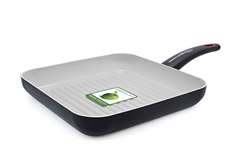 GreenLife 3D Meat & Poultry 11 Inch Non-Stick Ceramic Square Fry Pan, Sienna