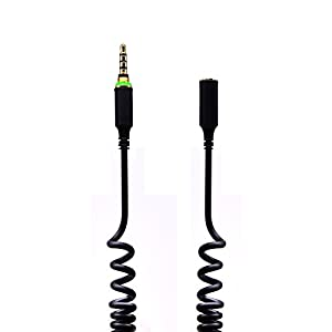 VRlinking Replacement 3.5mm Coil Headphone Extension Cable Wire Cord Adapter with Jack Cover Seal Screw for LifeProof iPhone 6 Waterproof Case - Black