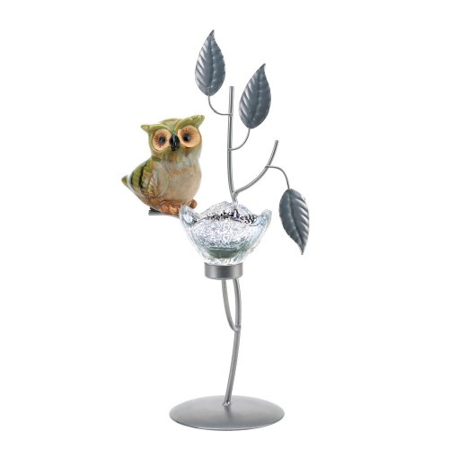 Koehler Home Kitchen Decorative Gift Owl Forest Candle Holder