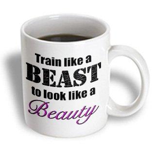 Evadane - Funny Quotes - Train Like A Beast To Look Like A Beauty, Pink, - 15Oz Mug (Mug_149816_2)
