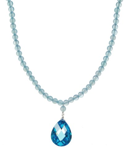 Sterling Silver Clasp Sea Blue Chalcedony Bead with Faceted Cubic Zirconia Blue Topaz Pear Shape Drop Necklace,18