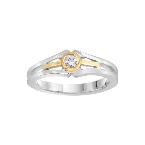 14k Two-Tone White and Yellow Gold Diamond Fashion Ring (1/6 cttw, H-I Color, I1-I2 Clarity), Size 6