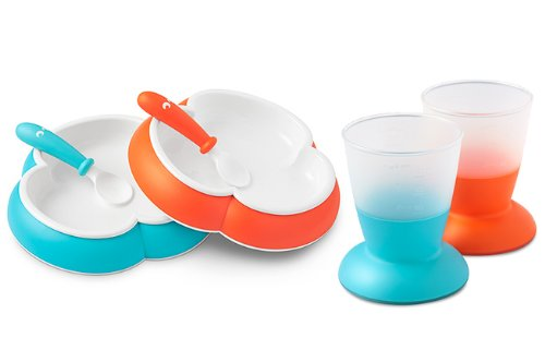 BabyBjorn Plate, Spoon and Cup Set (Orange/Turquoise) - 1