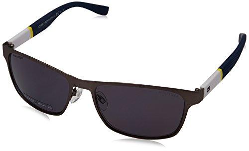 Tommy Hilfiger 1283 FO5 Matte Gunmetal Yellow White 1283S Wayfarer Sunglasses P