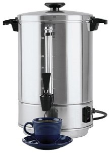 Focus Foodservice 58055R Regalware Commercial Aluminum Coffeemaker with Non-Drip Spigot, 55-Cup