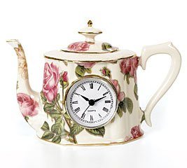 Buy Decorative Porcelain Rose Design Teapot Wall Decor With Clock Home Decor