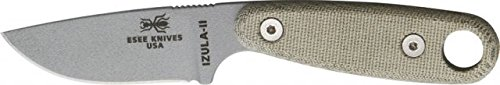 Esee Izula Ii Gray Fixed Blade Knife, 3In, Gray Powder Coated Carbon Steel, Light Green Esiz2Spc