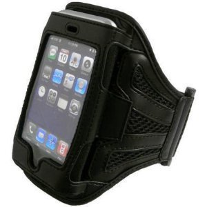 Navitech Black Neoprene Water Resistant Sports Gym, Jogging / Running Armband Case for the Apple iPhone 4, 4G HD