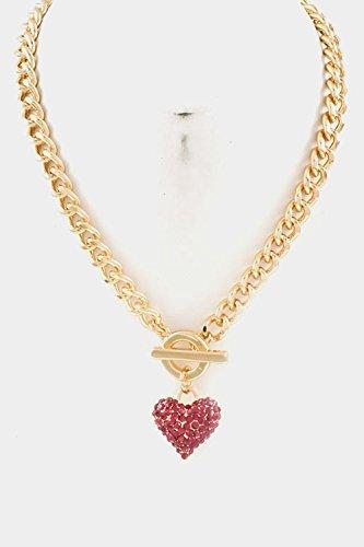 Glitz Finery Chain With Heart Rhinestone Toggle Closure Necklace (Fuchsia)