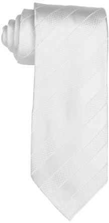 Trump Men's Grenadine Bar Stripe Tie, White, X-Long