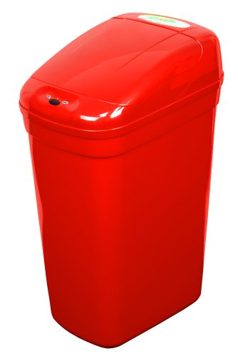 NST Nine Stars DZT-27-1R Infrared Touchless Automatic Motion Sensor Lid Open Trash Can, Red, 7.1-Gallon (Nst Garbage Can compare prices)