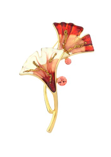Neoglory Jewelry New Arrival 2012 Fashion 14K Gold Plated Pink Or Purple Brooches For Women Wholesale Birthday Gift