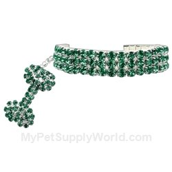 Glamour Bits Pet Jewelry Emerald L (10-12)
