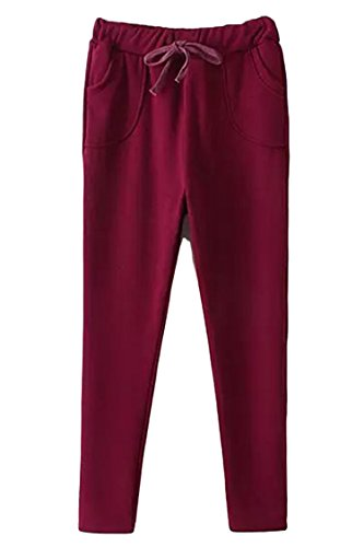 Pink Wind Womens Casual Drawstring Sweatpant Sports Hip-Hop Pants Trousers One Size Ruby
