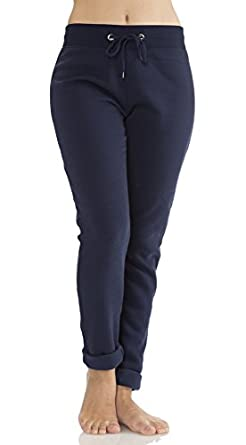 (TSCMO) Classic Designs Womens Fleece Check Me Out Sweatpants in Navy Size: Small