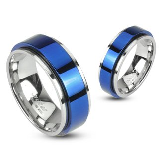 316L Stainless Steel Two Tone Blue IP Spinning Ring; Comes With FREE Gift Box (8)
