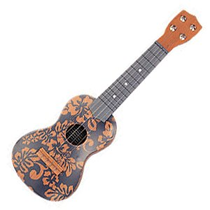 Ukulele navy blue floral print 18 tiki decor for Decoration ukulele