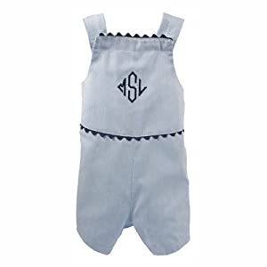 The Hamptons Pinstripe Shortall in Blue with Navy Trim Size: 12-18 Months