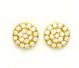 14ct Yellow Gold 2.5 mm Round CZ Circle Post Earrings