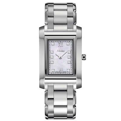 Fendi Loop Medium Square Diamond MOP Dial and Bracelet Quartz Watch - F775340D