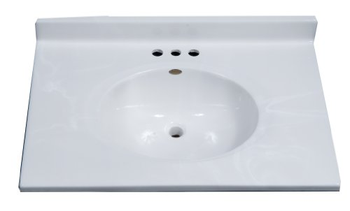 Imperial FC3122W Classic Center Oval Bowl Vanity Top, White Gloss Finish, 31-Inch Wide by 22-Inch Deep