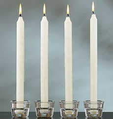 White Taper Candles 4 Inch Burn 3 Hours , 72 Candles in a Box