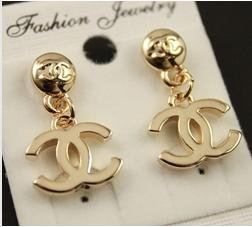 CC Gold Plated Double C Dangle Stud Earrings with Gift Box (Free Shipping)
