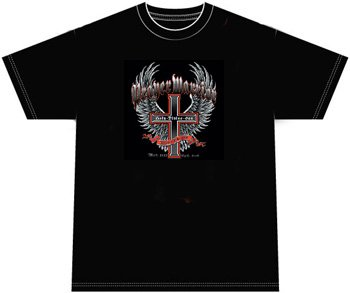Prayer Warrior Christian Cross Biker Motorcycle T-shirt, 3XL, Black