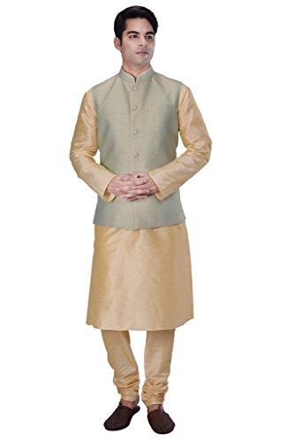 KISAH-Mens-Beige-Silk-Blend-kurta-and-Churidar-with-Green-Cotton-Silk-Nehru-Jacket