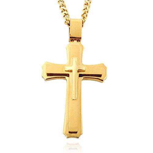 In acciaio inox-croce con 61 cm lunga collana per uomo, grande ciondolo (Oro/Argento/Nero), Acciaio inossidabile, colore: Oro, cod. 1