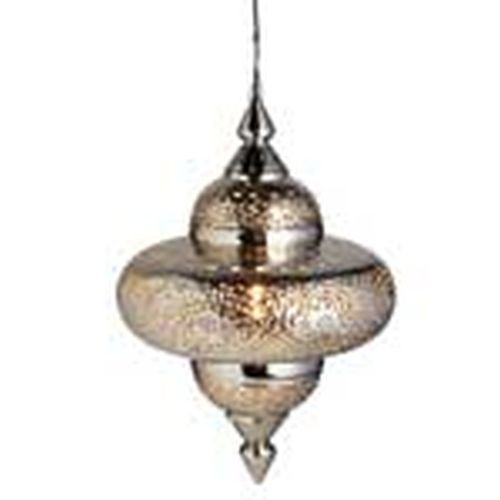 Silver Swirl Tyre Lamp with Gold Beads