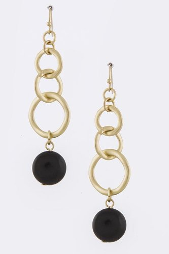 Baubles & Co Circle Linked Stone Earrings (Black) front-959335