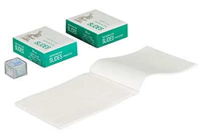 OMAX 100 Piece Blank Glass Frosted Slides and 100 Piece Cover Slips with 100 Sheets Microscope Lens Cleaning Paper from OMAX