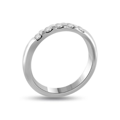 0.60 carat Diamond Half Eternity Ring for Women. G/SI1 Round Brilliant Diamonds in Bar Setting in 18ct White Gold