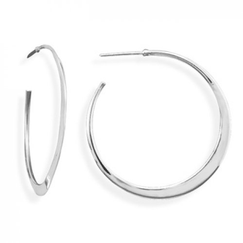 MMA Silver - Flat Tapered Hoops