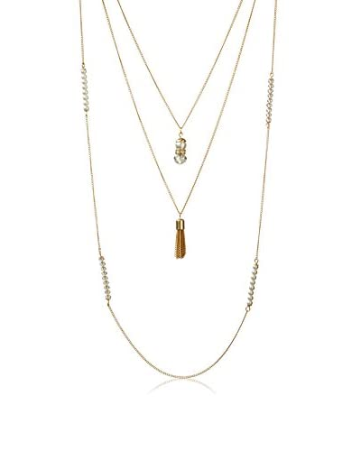 Cohesive Jewels Triple Strand Simulated Pearl & Tassel Necklace
