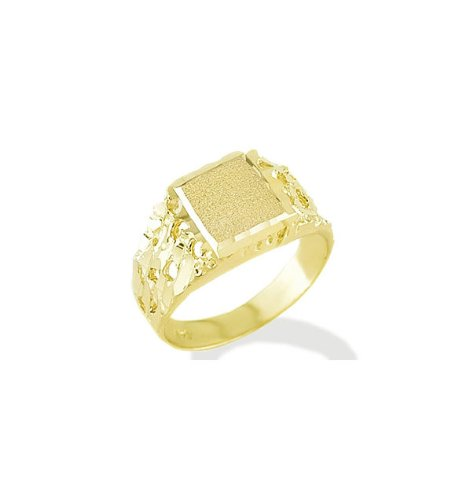 New Square Solid 14k Yellow Gold Nugget Mens Band Ring
