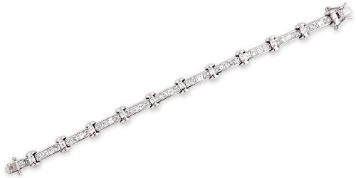 C. Z. Channel Set Emerald Cut Sterling Silver Bracelet (Nice Holiday Gift, Special Black Firday Sale)
