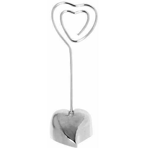 "Amscan Favor Stylish Heart Wedding Place Card Holder, 3-1/4"", Silver"