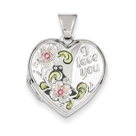 Genuine IceCarats Designer Jewelry Gift Sterling Silver Floral I Love You 18Mm Heart Locket