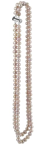 Silver on Copper Lavender Freshwater Cultured Pearl Double Strand 17 inch Necklace