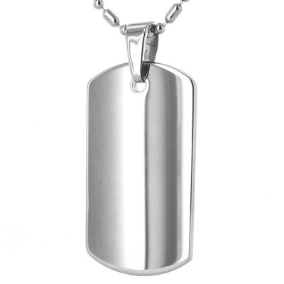 Men's Tungsten Carbide Dog Tag Necklace